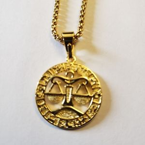 "Libra Zodiac Sign Gold Filled 18"" Long Necklace"